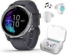 Garmin Venu Granite Blue Silver GPS Smartwatch with White EarBuds Bundle
