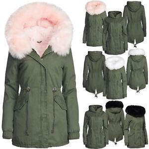 Damen Winter Jacke 3in1 Pelz Kapuze 100% Baumwolle Fell Kragen Warm Gefüttert