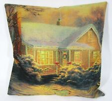Snowy Cottage Throw Pillow Cover Only NEW Christmas Holiday Kincade Textured