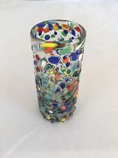 ONE MEXICAN CONFETTI TEQUILA SHOT GLASS HANDBLOWN BLOWN GLASS
