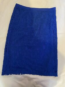 REISS DEVI Cobalt Royal Blue Pencil Fitted Skirt Lace Fully Lined Zip Back UK 12