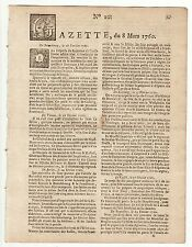 1760, March 8, Original French Gazette # 10, in the Seven Years War period