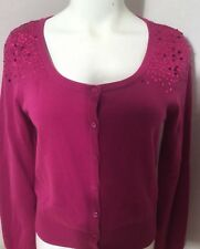 Elle Pink Fuchsia Lightweight Sweater Sequins 100% Cotton Size Small