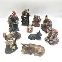 Holiday Christmas full nativity ceramic set animals baby Jesus three kings anima