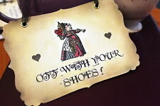 OFF WITH YOUR SHOES -Vintage Alice in Wonderland Sign- Decoration