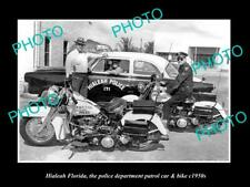 OLD POSTCARD SIZE PHOTO HIALEAH FLORIDA THE POLICE PATROL CAR & BIKE c1950