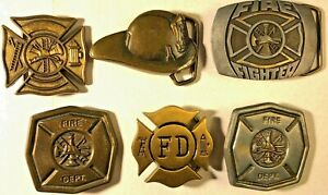 Lot 6 Vintage FIRE FIGHTER Belt BUCKLES Brass Helmet Hook Ladder