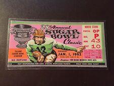 Alabama Crimson Tide 1962 Sugar Bowl laminated ticket vs Arkansas Razorbacks