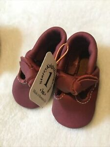 Starry Knight Design Baby T-Strap With Bow Moccs Moccasins Shoes Soft Sole 1/3mo