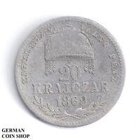 Österreich Ungarn - 20 Kreuzer Krajczar 1869 KB Kremnitz Silber Austria Hungary