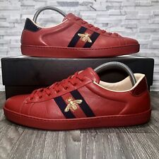 a526ba73a Gucci Ace Embroidered Bee Red Leather Low Top Sneaker (429446) Mens US Size  14