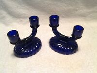 """Set of 2 COBALT BLUE Glass 4 1/2"""" Tall CANDLE HOLDERS - Holds 4 Candles"""