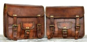 2 Motorcycle Brown Handmade Leather Side Pouch Saddlebags Saddle Panniers 2 bags