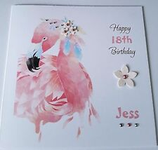 Personalised Birthday Card - Flamingo 18th, 21st, 30th Any Name Any Age