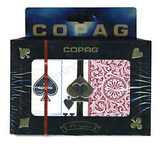 "COPAG ""1546"" GREEN & BURGUNDY PLASTIC PLAYING CARDS 2 POKER DECKS JUMBO INDEX *"