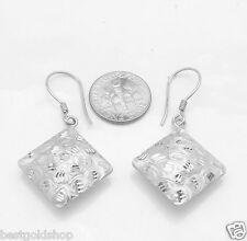 Technibond Diamond Cut Puffed Square Earrings Platinum Clad 925 Sterling Silver