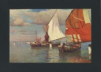 ANTIQUE  MANUEL WIELAND NAUTICAL SUN SAILBOAT SAIL BOATING COLOR OLD ART PRINT