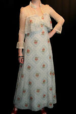 S VTG 70s 2pc EMPIRE MAXI DRESS CREAM BLUE VOILE SHEER CROPPED LACE JACKET