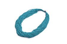 Ethnic Glass Seed Bead Multi Strand Statement Bib Teal Blue Necklace
