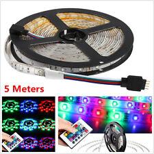 5M 300LED 3528 SMD RGB Flexible Waterproof Strip Light Car Decor Lamp+ IR Remote