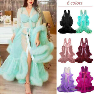 Women Sheer Mesh Night Gown Fluffy Feather Trim Night Robe Dress Photograph Prop