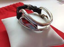 """NWT Uno de 50 Silvertone/Leather Bracelet w/ Swarovski Stone """"Red"""" 6""""-8"""""""
