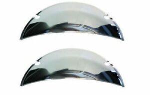 "7"" Headlight Headlamp Light Bulbs Chrome Trim Half Moons Shield Covers Pair 6V"
