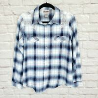 Vintage Wrangler Wrancher Blue Plaid Western Pearl Snap Flannel Shirt Size XL