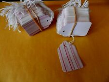 100 Strung Pink Stripe Price Tags With String #5 -Closeout