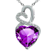 Sterling Silver CZ Amethyst Pendant Necklace Double Two Heart for Women 18""