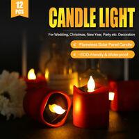 12er Set Teelicht LED mit Solar Lampe Licht elektrisch Flackern Kerze Tealight