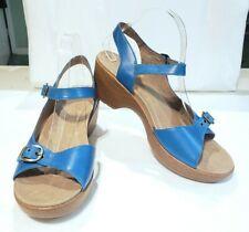 NWOB Dansko Joanie Full Grain Wedge Ankle Strap Sandals Capri Blue Sz 42 US 11.5