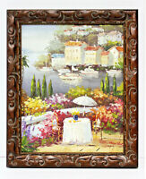 Village Waterfront Bay Boats 16 x 20 Oil Painting on Canvas w/Custom Frame
