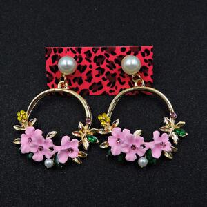 New Betsey Johnson Pink Enamel Pearl Flowers Drop Earrings Women Fashion Jewelry