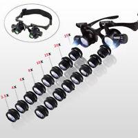 2.5X-25X Uhrmacherlupe Juwelier Lupe Brillenlupe Kopflupe Lupenbrille mit LED