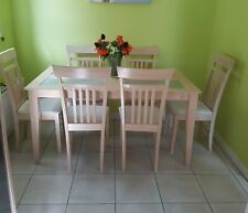 Stylish light wood and glass Dining table with  6 chairs chairs