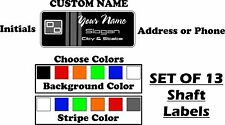 Custom Golf Shaft Label Stickers Full Set of 13  (YOU CHOOSE COLOR)