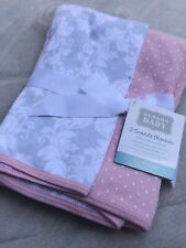Hudson Baby Girl,Baby Swaddling Blankets,Cotton 2-Pack,Dots,Pink,New Other