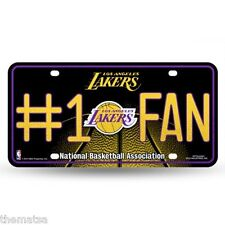 LOS ANGELES LAKERS NUMBER ONE FAN NBA BASKETBALL GLITTER LICENSE PLATE USA MADE