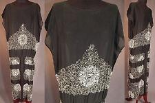 29c5a73d450 Vintage 1920s Art Deco Black Silk Silver & White Beaded Drop Waist Flapper  Dress