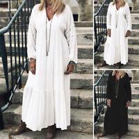 ZANZEA Women Plus Size Long Sleeve V Neck Dress Ladies Loose Kaftan Maxi Dresses