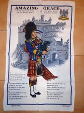 VINTAGE RETRO SOUVENIR SCOTTISH LINEN BLEND TEA TOWEL  - AMAZING GRACE -