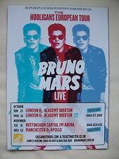 "BRUNO MARS Live ""The Hooligans European Tour"" UK 2011 RARE Promo tour flyers x 2"