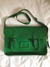 "Genuine Cambridge Satchel Company bag in green leather 15"" X 10"""