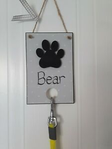 PERSONALISED PET DOG PUPPY LEAD LEASH HANGER HOOK