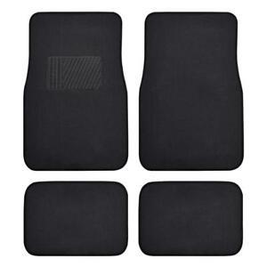 4 PC Car Floor Mats Set Carpet Floor Protection - Black Comfortable Cushion Pad
