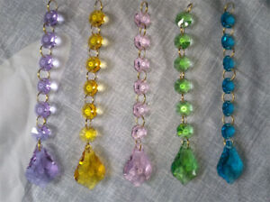 10x Chandelier Glass Crystal Maple Leaf Double Sided Lamp Prism Hanging Pendent