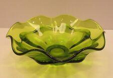 Vintage Viking Epic Green Crimped Ruffled Art Glass Bloom Bowl Mid Century Retro