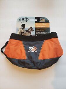 New AFP Outdoor Dog Travel Collapsible Fold Flat Water Bowl Orange/Gray/Black