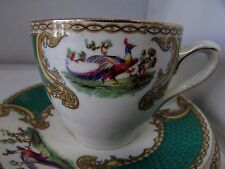 MYOTT POTTERY STAFFORDSHIRE ENGLAND GREEN CHELSEA BIRD TRIO CUP SAUCER & PLATE